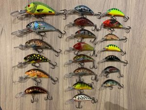 A selection of different coloured hornet lures